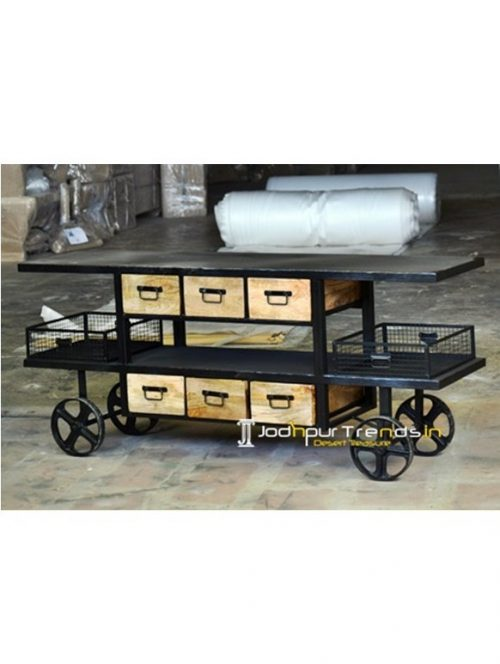 Iron Wooden Trolley Furniture Manufacturing in India