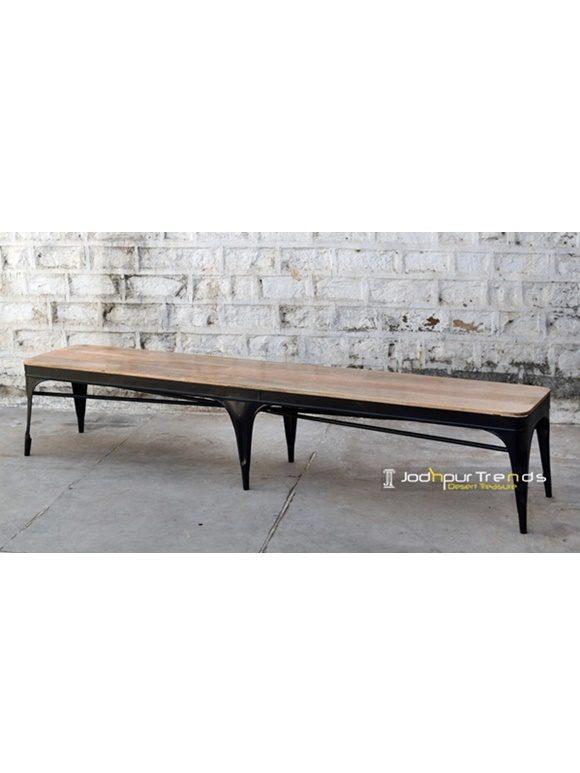 Long Metal Wooden Bench Fine Wood Furniture
