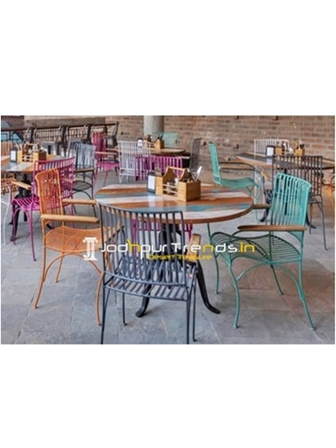 Round Wood Dining Set Garden Furniture India