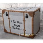 Upholstered Ottoman Storage Box in Grey Canvas, hotel resort furniture