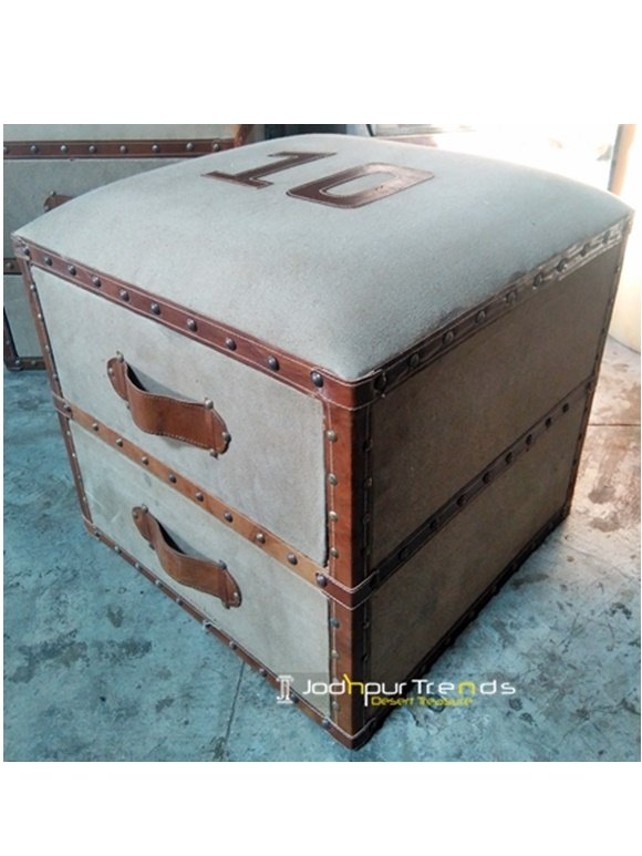 Vintage Casual Handmade Resort Storage Box Footstool