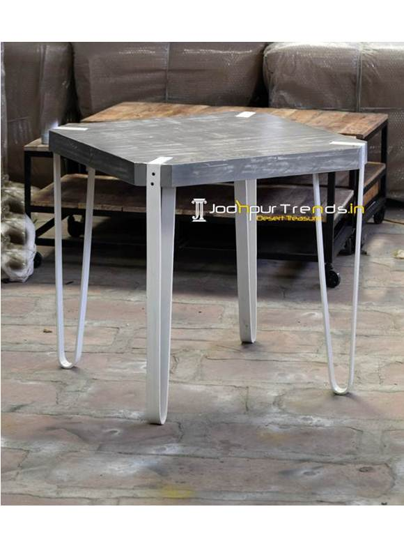 Distress Square Industrial Dining Table
