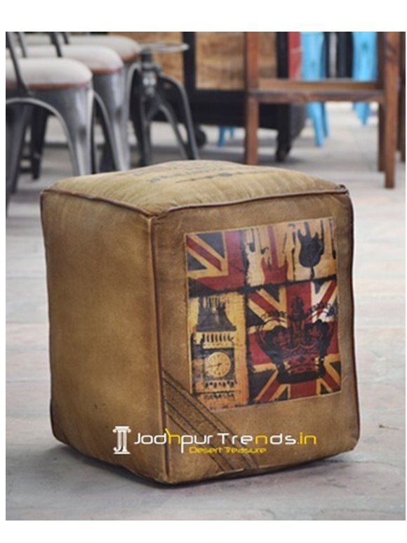 Flag Design Pouf Cafeteria Chairs Online