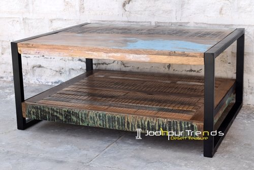 Old Distress Wood MS Iron Coffee Table Furniture