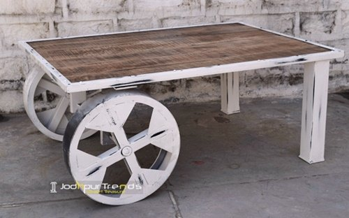 White Distress Wrought Iron Center Table Furniture