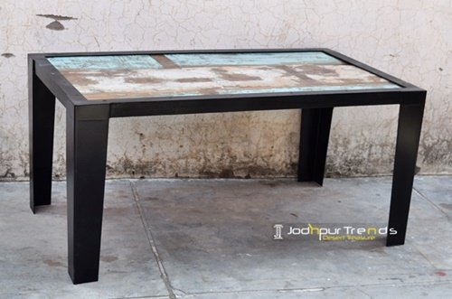 Metal Base Reclaimed Wood Jodhpur Furniture Design