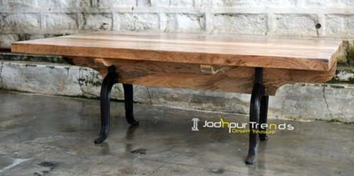 Cast Iron Solid Finish Mango Wood Center Table Furniture