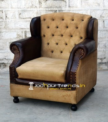 Wing Tufted Back Canvas Sofa Design Wholesale