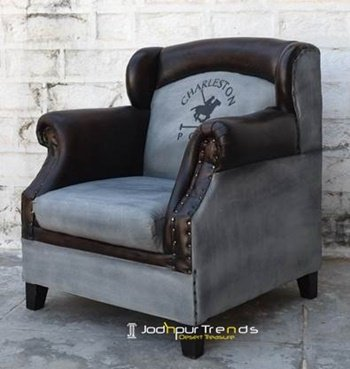 Wing Back Canvas Leather Single Seater Sofa