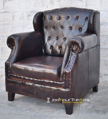 Wing Back Tufted Jodhpur Leather Sofa Maker
