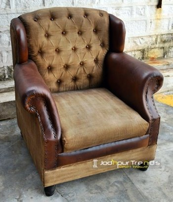 Wing Back Classic Canvas Leather Sofa Furniture