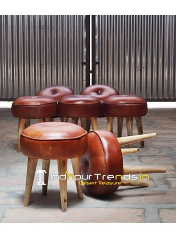 Leather Wood Stool Vintage Industrial Stool