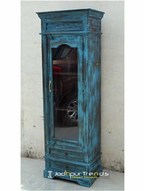 Old Wood Glass Storage cum Display Unit