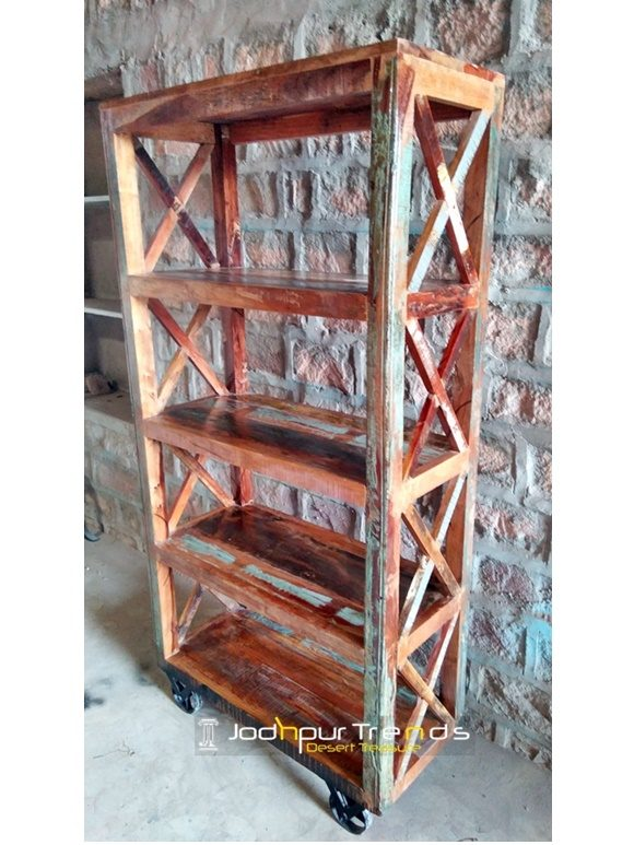 Reclaimed Wood Old Zigzag Pattern Display Unit