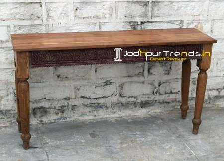 Indian Teak Wood Carved Console Table Furniture