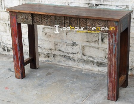 Old Hand Crafted Carved Antique Teak Console