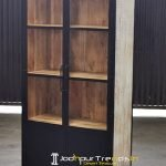 Distress Natural Wood Glass Store Display Unit