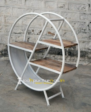 Round Shape Metal Wood Retro Display Unit