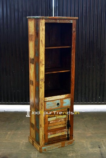 Reclaimed Old Wood Open Bookcase Display Unit