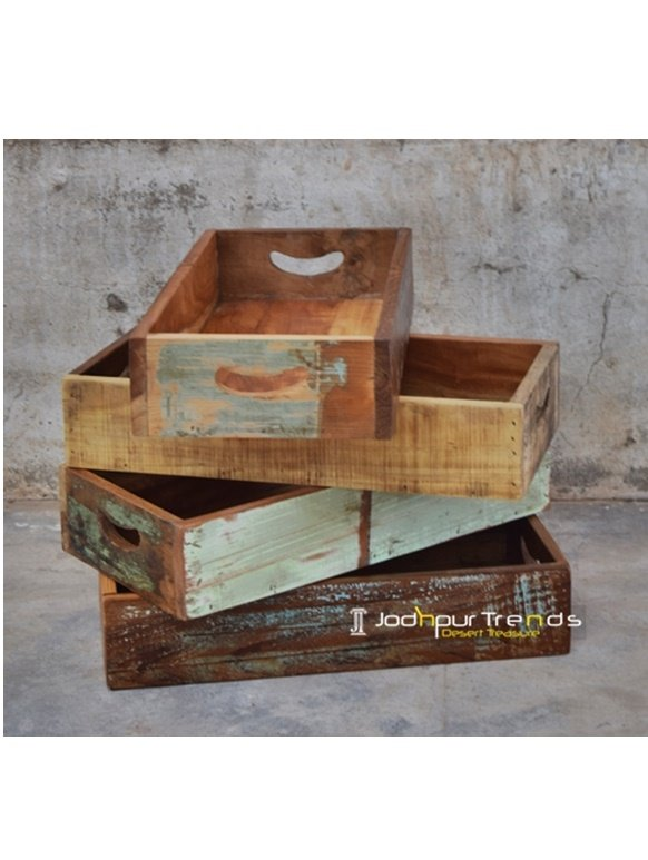 Reclaimed Solid Wood Restaurant Tray Design