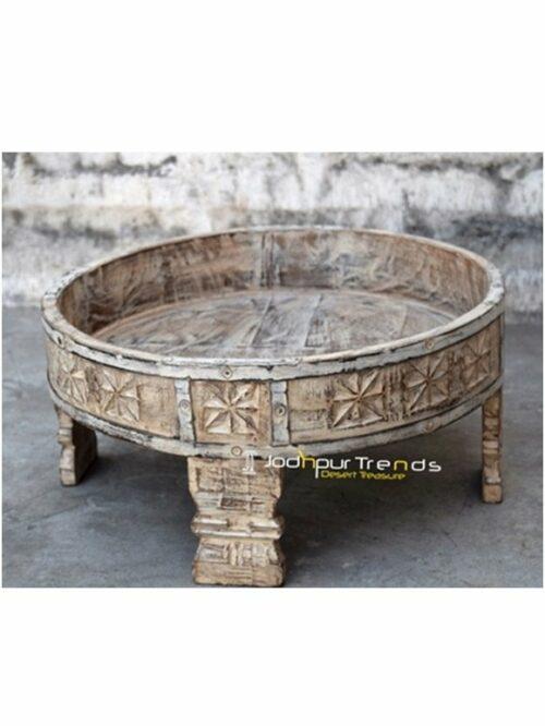 Hand Carved Old Indian Chakki Design