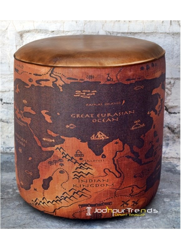 World Map Design Printed Round Pouf Design
