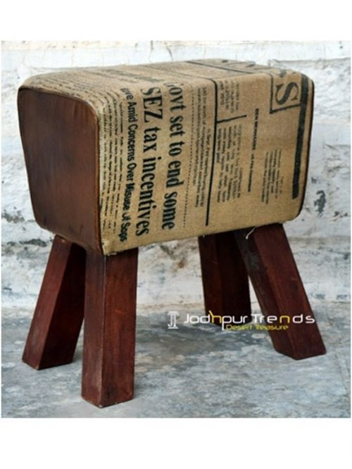 Printed Canvas Upholstered Foot Stool Design