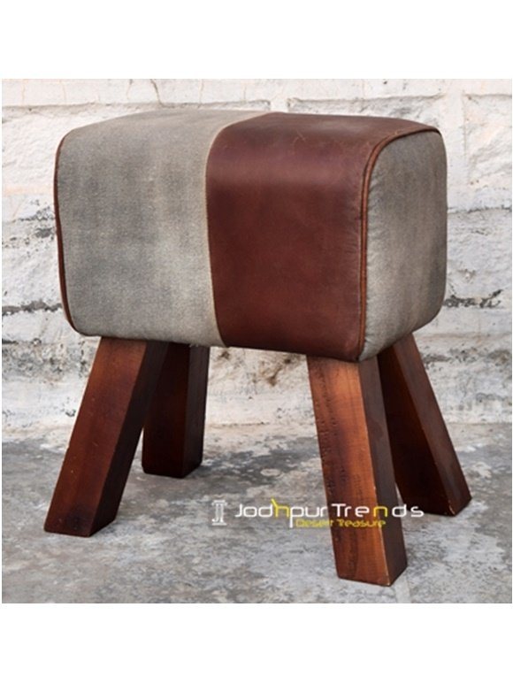 Canvas Leather Commercial Use Pouf Footstool