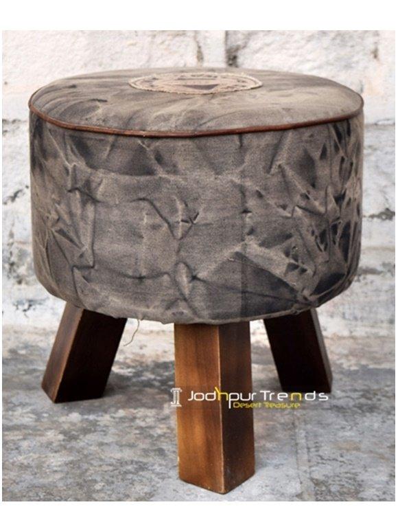 Round Resort Room Upholstered Pouf Footstool