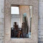 White Distress Resort Tent Room Mirror Frame