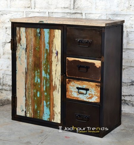 Rustic Brown Reclaimed Drawer Cabinet