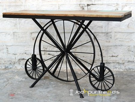 Reclaimed Wood Wheel Indian Hospitality Console