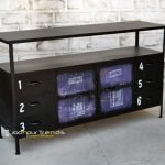 Old Recycled Metal Long Industrial Sideboard
