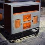 Grey Honey Finish Solid Wood Wheel Cabinet