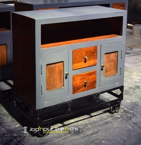 Grey Honey Finish Solid Wood Wheel Cabinet