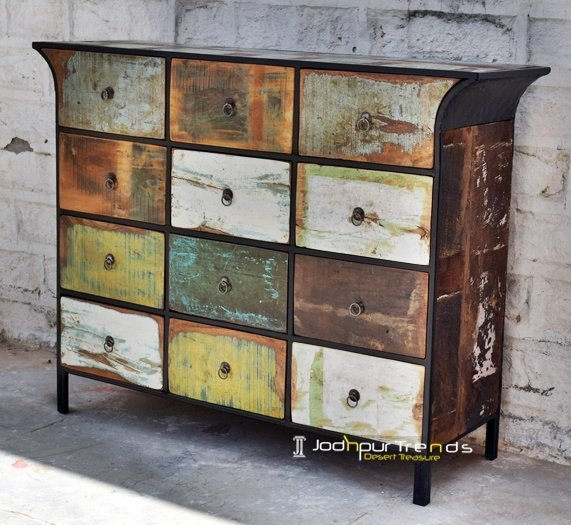 Multi Drawer Old Indian Wood Cabinet Furniture