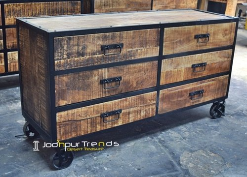 Mango Aara Ruff Finish Drawer Chest Design