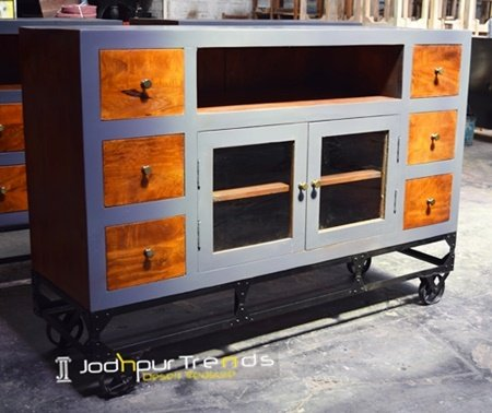 Cast Iron Wheel Mango Cabinet Furniture