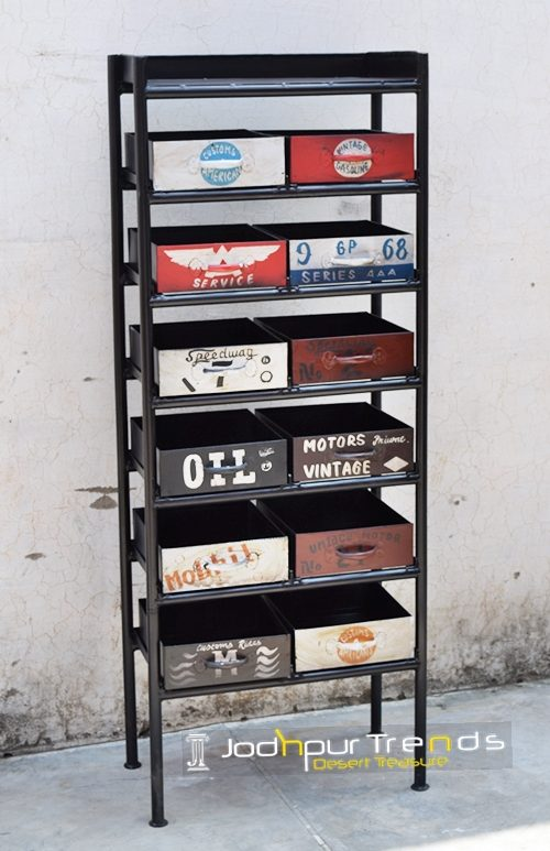 Hand Painted Boho Chic Industrial Drawer Furniture