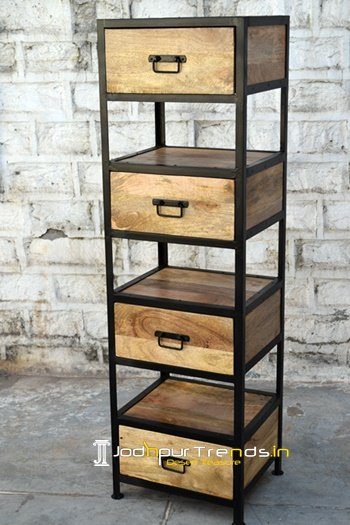 Modern Vintage Industrial Wooden Storage Bookcase
