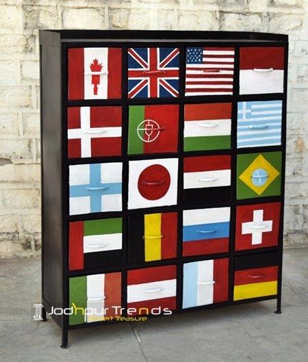 Hand Painted Designer Open Shelves Cabinet