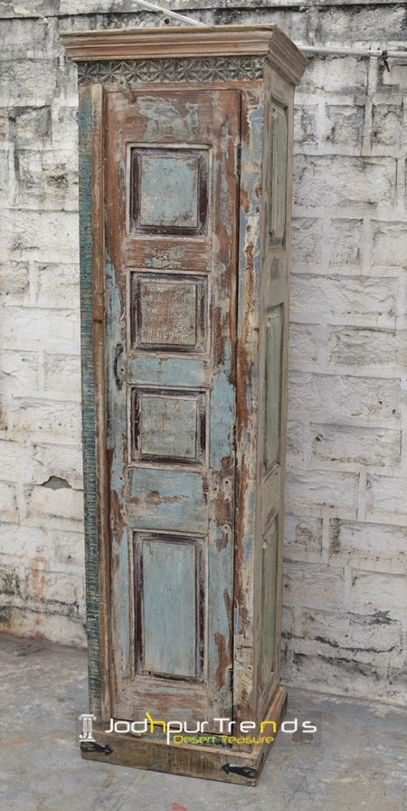 Old Distress Indian Style Tall Cabinet Furniture