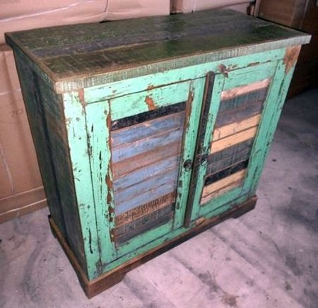 Green Distress Old Wood Small Cabinet Furniture
