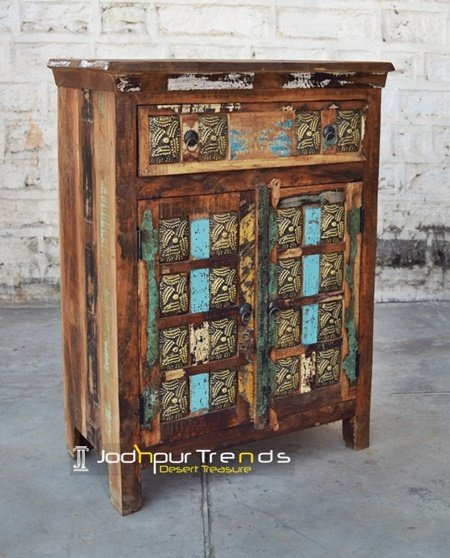 Old Indian Distress Wood Carving Cabinet Furniture