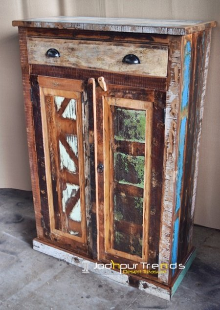 Hand Crafted Indian Artisan Long Cabinet Furniture