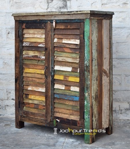 Indian Old Wood Painted Distress Cabinet Furniture