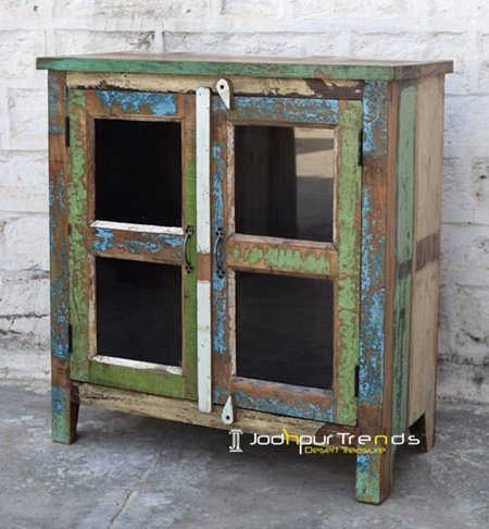 Old Door Window Recycled Glass Cabinet Furniture