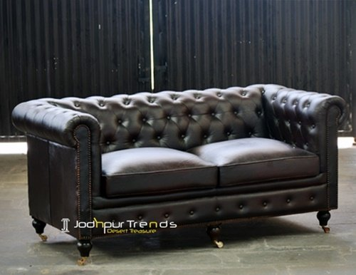Dark Brown Indian Chesterfield Leather Supplier Sofa