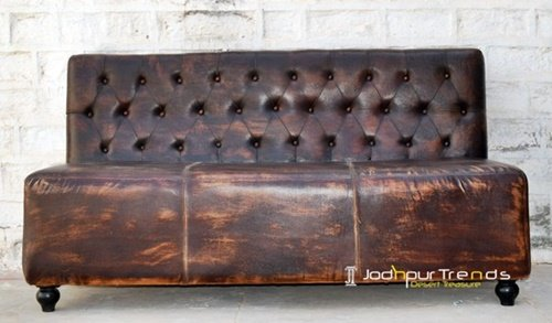 Raw Distress Genuine Leather Restaurant Sofa