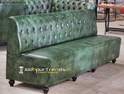 Green Leather Chesterfield Pattern Leather Sofa Design